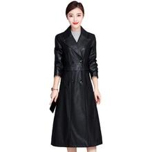 2019 Autumn Winter Fashion Long PU Leather Coat Black Faux Leather Jackets Women Plus Size Leather Long Trench Coat High Quality plus size faux leather panel coat