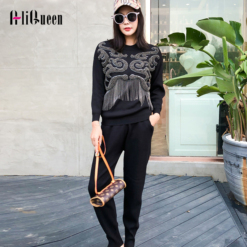 Two Piece Set  2019 Fashion Autumn Winter Women High Quality  Beaded Harajuku Suits Casual Style Soft Women Knitwear TrackSuit