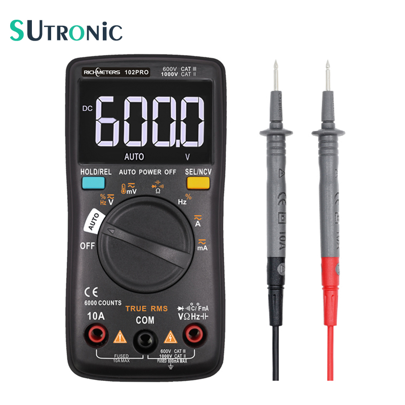 RM102PRO Digital Multimeter 6000 Counts Auto Back Light AC/DC Voltmeter Transistor Tester Frequency Diode Temperature