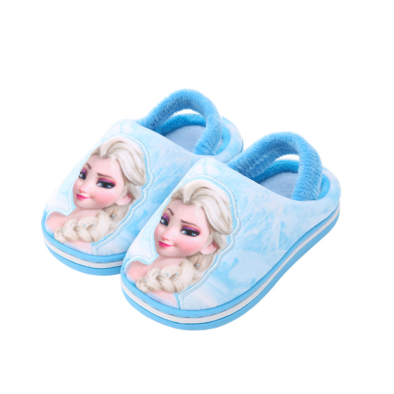 New Winter Princess Elsa Kids Slippers For Toddler Indoor Shoes Baby Girl Fur Slide Cotton Flip Flop Warm House Children Slipper