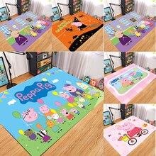 Нескользящий фланелевый коврик Peppa Pig, дверной коврик Peppa для детской комнаты, 3D мультяшный напольный коврик, моющийся ковер для кухни и ванн...