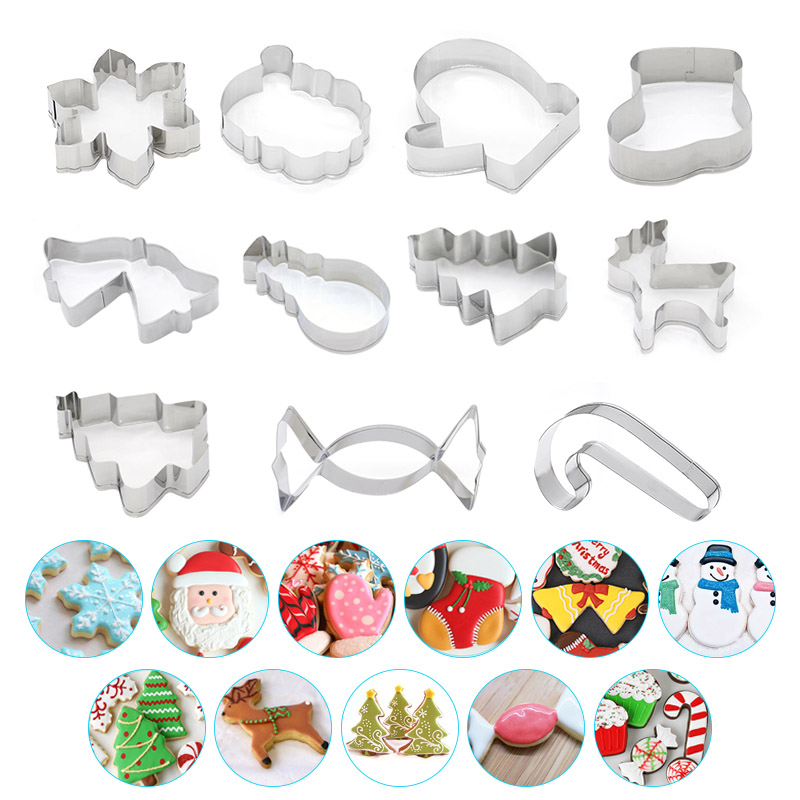 Stainless Steel Christmas Cake Cookie Fondant Cutter Mold Baking Cupcake Pastry DIY Tools TN88