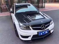 Carbon Fiber Clear Glass Front Bumper Engine Hood Vent Cover Fits For Benz C Class W204 C63 AMG 2008 2014