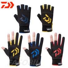 New Daiwa 3 Fingers Cut Outdoor Sport Hiking Gloves Spring Fishing Clothing Cotton Waterproof Anti-slip Durable Fishing Glove