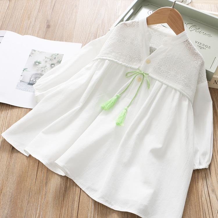 Image 2 - Girls Spring Dress Fringed Bow Pleated Princess 2020 SpringDresses