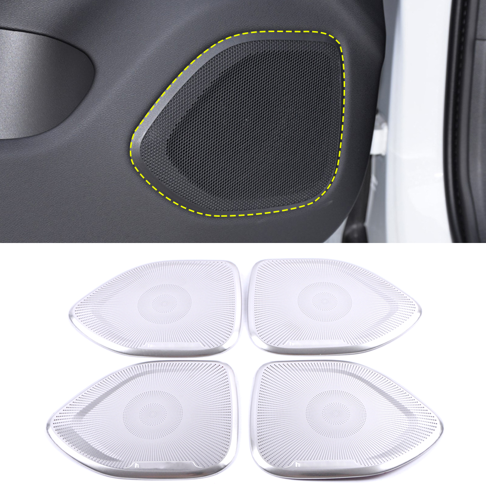 For <font><b>Volvo</b></font> <font><b>S60</b></font> 3rd 2019 2020 Stainless Car Gate Door Loudspeaker Pad Audio Speaker Cover Trim <font><b>Frame</b></font> Sticker Interior Accessories image