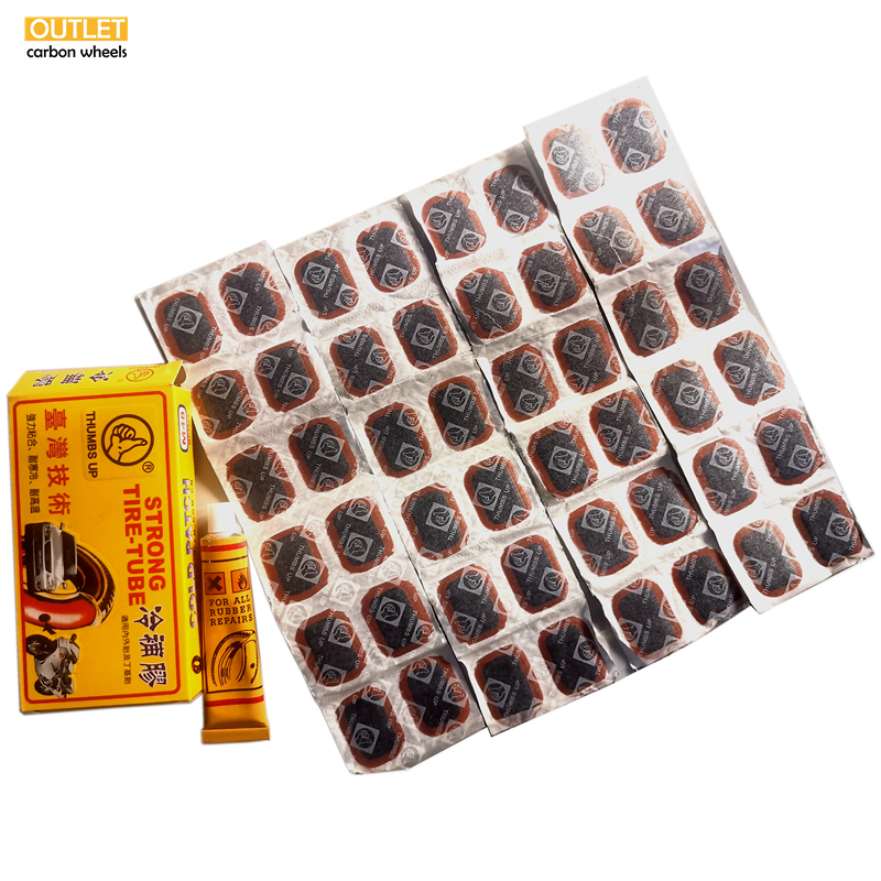 48 Pcs Glue High Quality Round Bicycle Bike Tire Tyre Rubber Patch Piece Cycling Puncture Repair Tools Kits