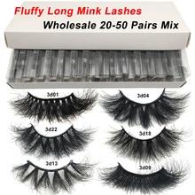 RED SIREN 20-50 pairs Fluffy Lashes 25mm 3d Mink Lashes Wholesale In Bulk Dramatic Long Natural Eyelashes Makeup Mink Eyelashes