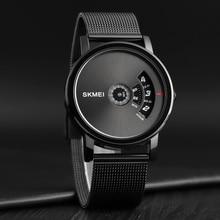 Skmei novo relógio masculino de quartzo, relógio impermeável de homem, novo, criativo, malha de aço, moda casual, relógios de pulso, homem, relógio masculino