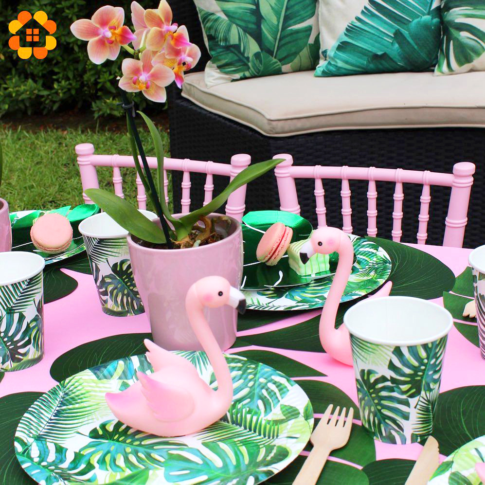 Flamingo Hawaiian Tableware Artificial Tropical Palm Leaf Banner Green Latex Confetti Balloons Birthday Summer Party Supplies