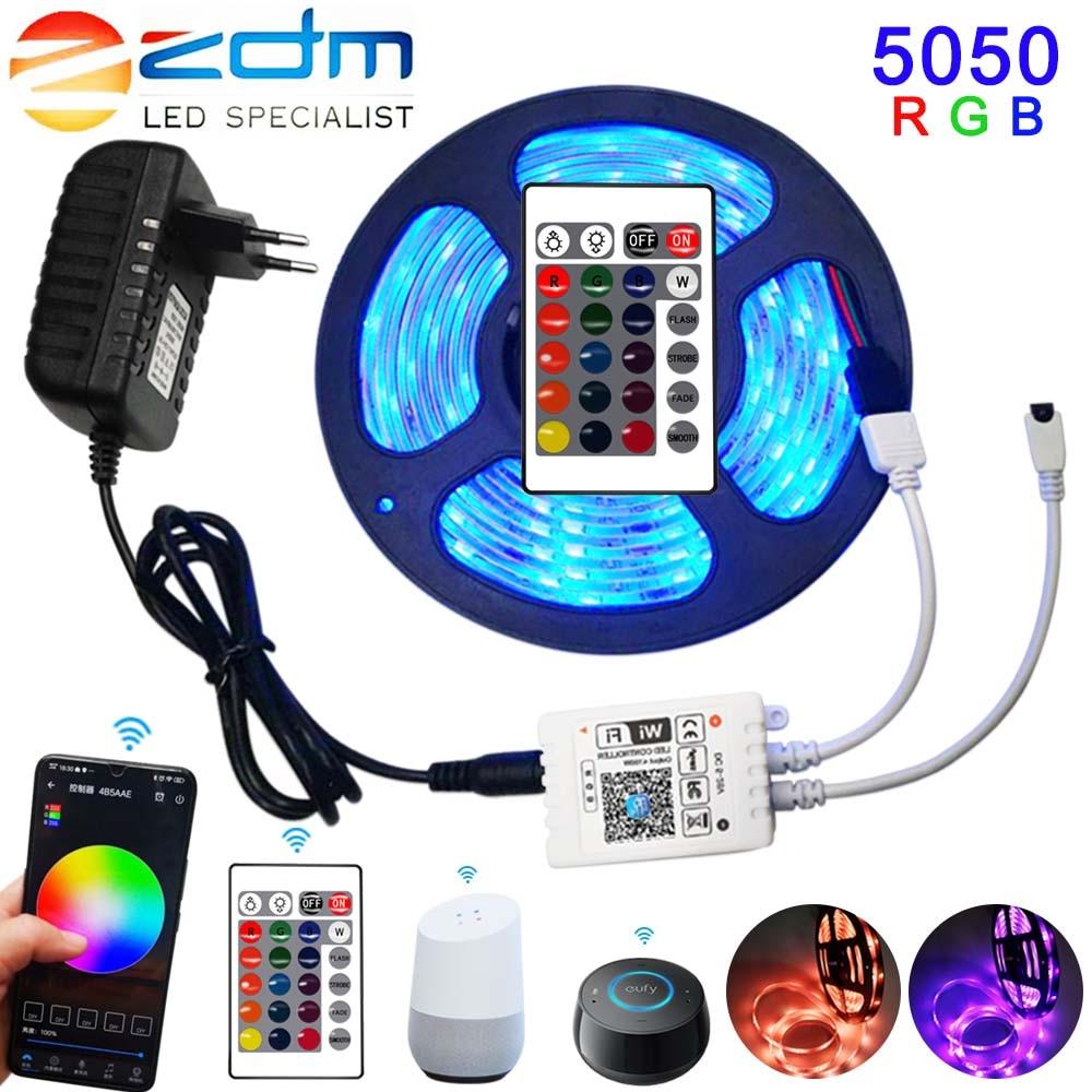LED Strip Light RGB 5050 SMD 2835 Flexible Ribbon Fita Led Light Strip RGB 5M 10M 15M Tape DC 12V WiFi Remote Adapter Waterproof