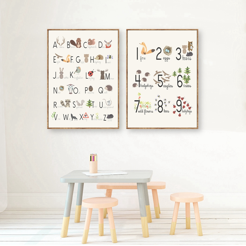 Woodland Alphabet and Number Set Poster Nursery Decor