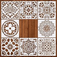 Plantilla de dibujo de pared de Mandala 15x15cm 4 unids/lote para pintar plantillas de decoración de hosehold DIY