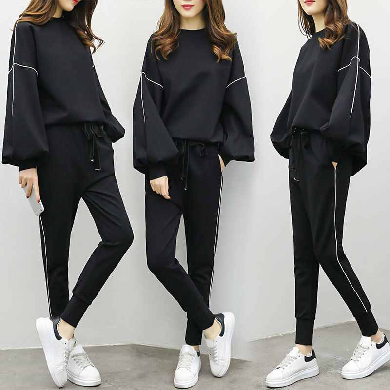 DEAT 2019 Autumn Women Fashion Suits Female Long Flare Sleeve Tops Elastic Waist Pants Casual Loose Outfits Tracksuits MG735 23