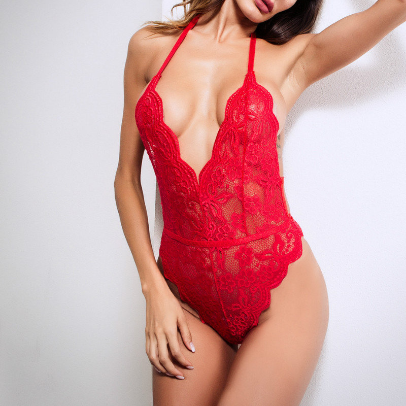 Women Sexy Bras Jumpsuit Underwear Sexy Lace Deep V Neck Women Bodysuit Summer Women Playsuits solid White/Black/Red Color