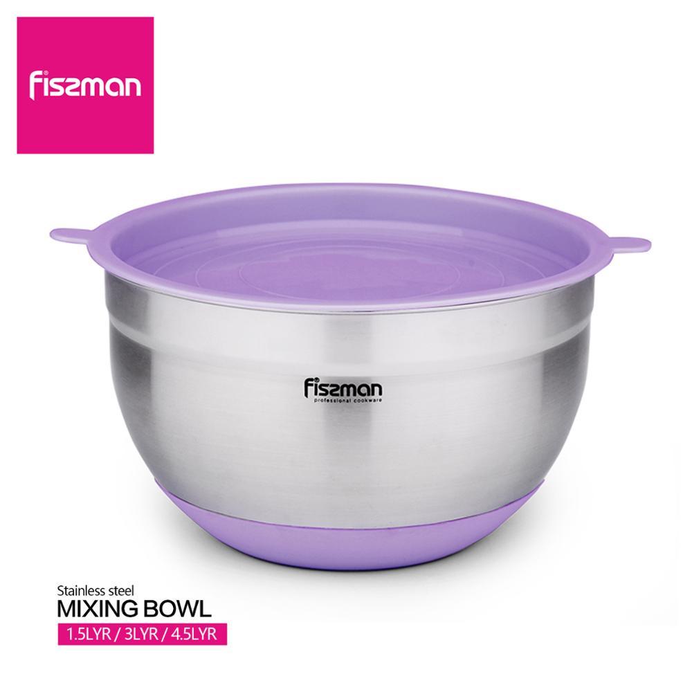 Fissman 304 tigela de mistura de aço inoxidável com tampa & fundo de silicone antiderrapante diy bolo pão salada batedor misturador aninhamento armazenamento