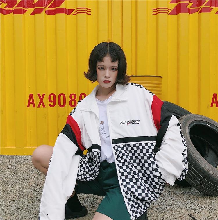 Hfb02994576924d79aa66d794467a14877 #5601 Summer Sunscreen Windbreaker Women Korean Fashion Thin Coat School Harajuku Baseball Hip Hop Jacket Streetwear