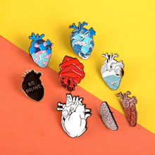 Creative Heart Pins Ocean Black brave heart Enamel Pin Badges Bandage Hand cat Lapel Pins Brooches for women men Anatomy Jewelry(China)