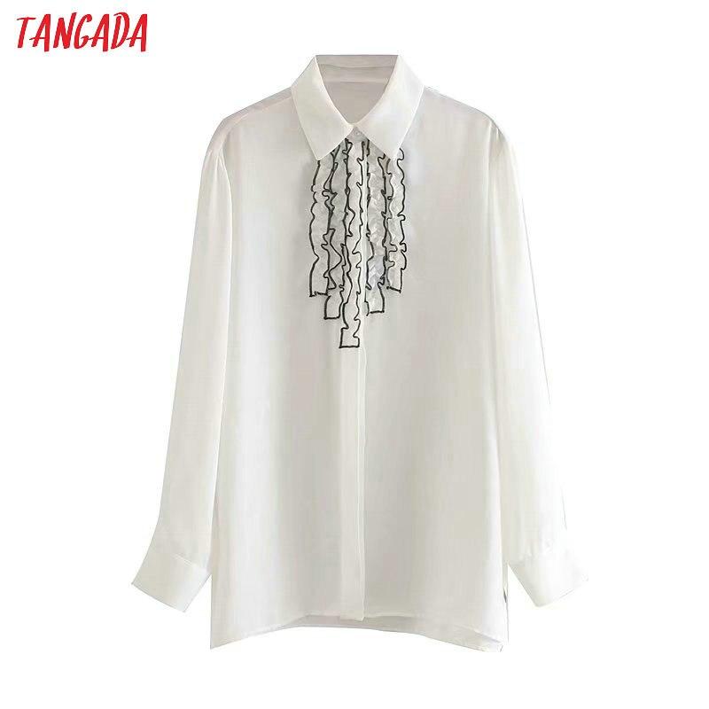 Женская шифоновая блузка Tangada, белая блузка с оборками и длинным рукавом, с галстуком-бабочкой, стильная офисная блуза 4M55