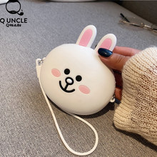 Mini Zipper Earphone Headphone SD Card Storage Box Carrying Pouch Rabbit Cartoon Case Box Women Coin Purses Wallet For Gift(China)