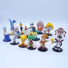 Anime 1/10 ölçekli boyalı şekil 16 adet/takım Bugs Bunny Tweety kuş Coyote Daffy ördek Mini eylem PVC şekil oyuncaklar