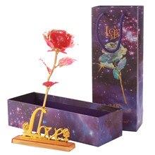 День Святого Валентина роза 24K алюминиевая фольга позолоченная роза любовь подарок свадебный Декор цветок праздничный подарок на Рождество длится навсегда любовь