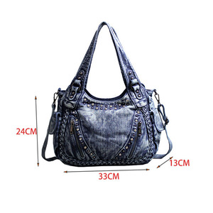 Image 2 - Kadın çantası omuz çapraz çanta büyük kapasiteli büküm rahat elmas Denim çanta