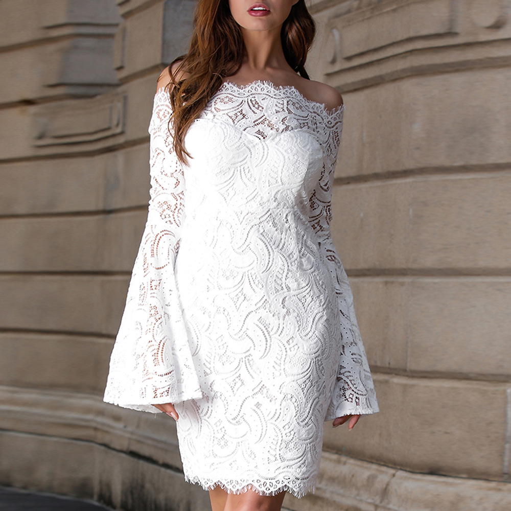 Long-Sleeve Cocktail Dress Lace Mini Party Dress Off The Shoulder Prom Gown White Navy Blue Formal Dress