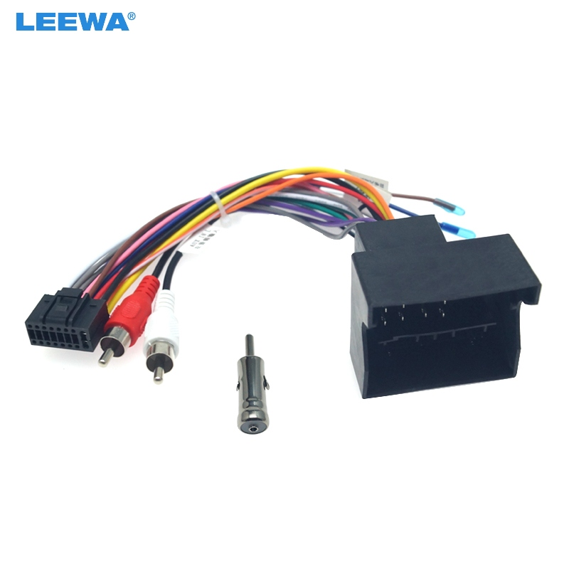 LEEWA Car Audio DVD Player 16PIN Android Power Cable Adapter With FM Plug For Ford Focus 06-11 Radio Wiring Harness #CA6438