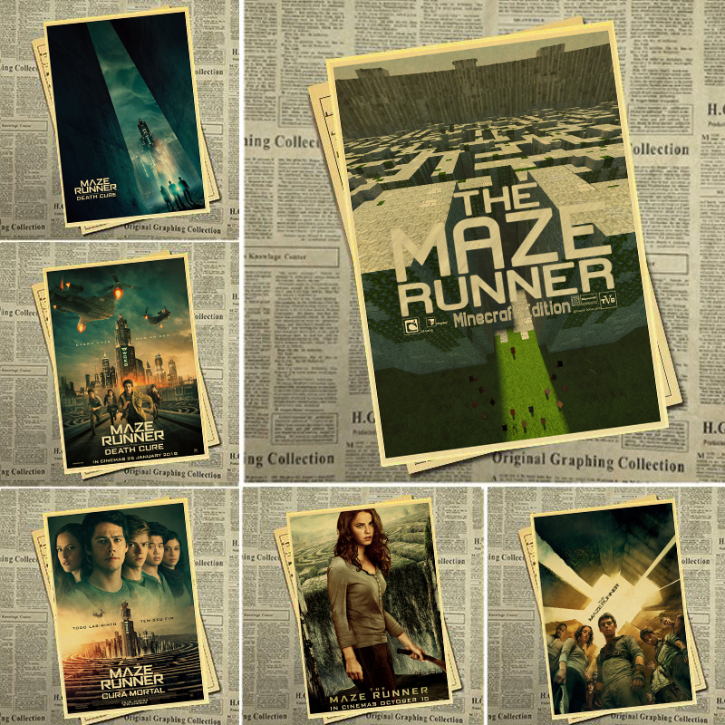 Science Fiction Film -Maze Runner-Retro Poster Wall Hanging Cinema-Decor Art Painting Decor In Home/Bar