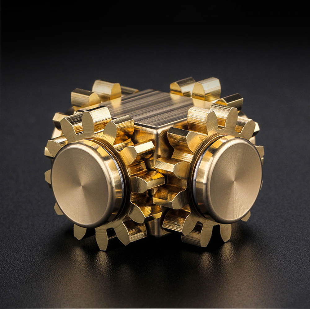 Cube Brass Finger Hand Spinner Finger Spinner Office Anxiety Relief Stress Fidget Gyro Gear ADHD Sufferers Gyroscope Gyro Toys