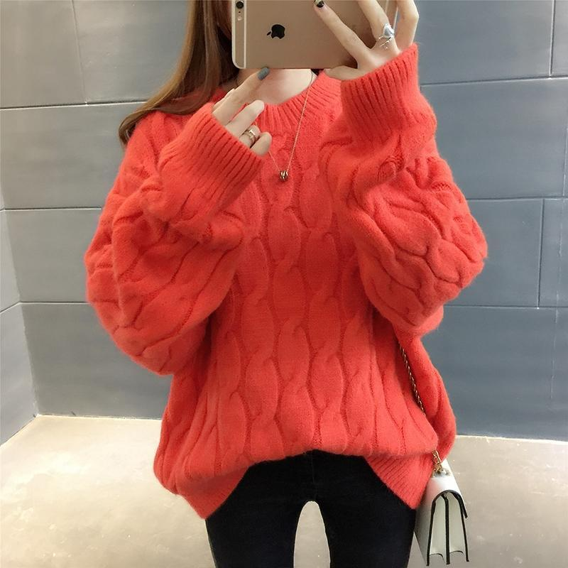 Fashion Sweater Women 2019 Autumn Winter Long Sleeve O Neck Fashion Loose Female Knit Basic Tops Warm Casual Knitted Pullover