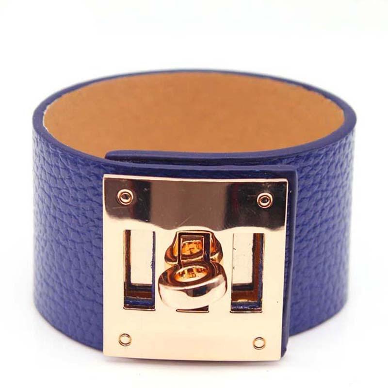 TOTABC European Fashion Punk Wide circular gold Leather Bracelets for Women Cuff Bracelet Statement Jewelry