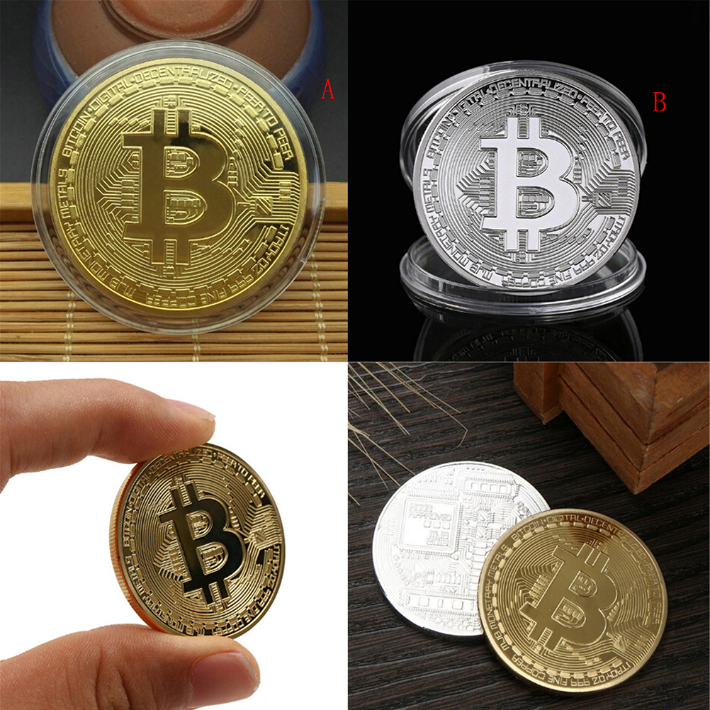 Gold/Silver Plated Bitcoin Collectible BTC Coin Pirate Treasure Props Toys For Halloween Party-1
