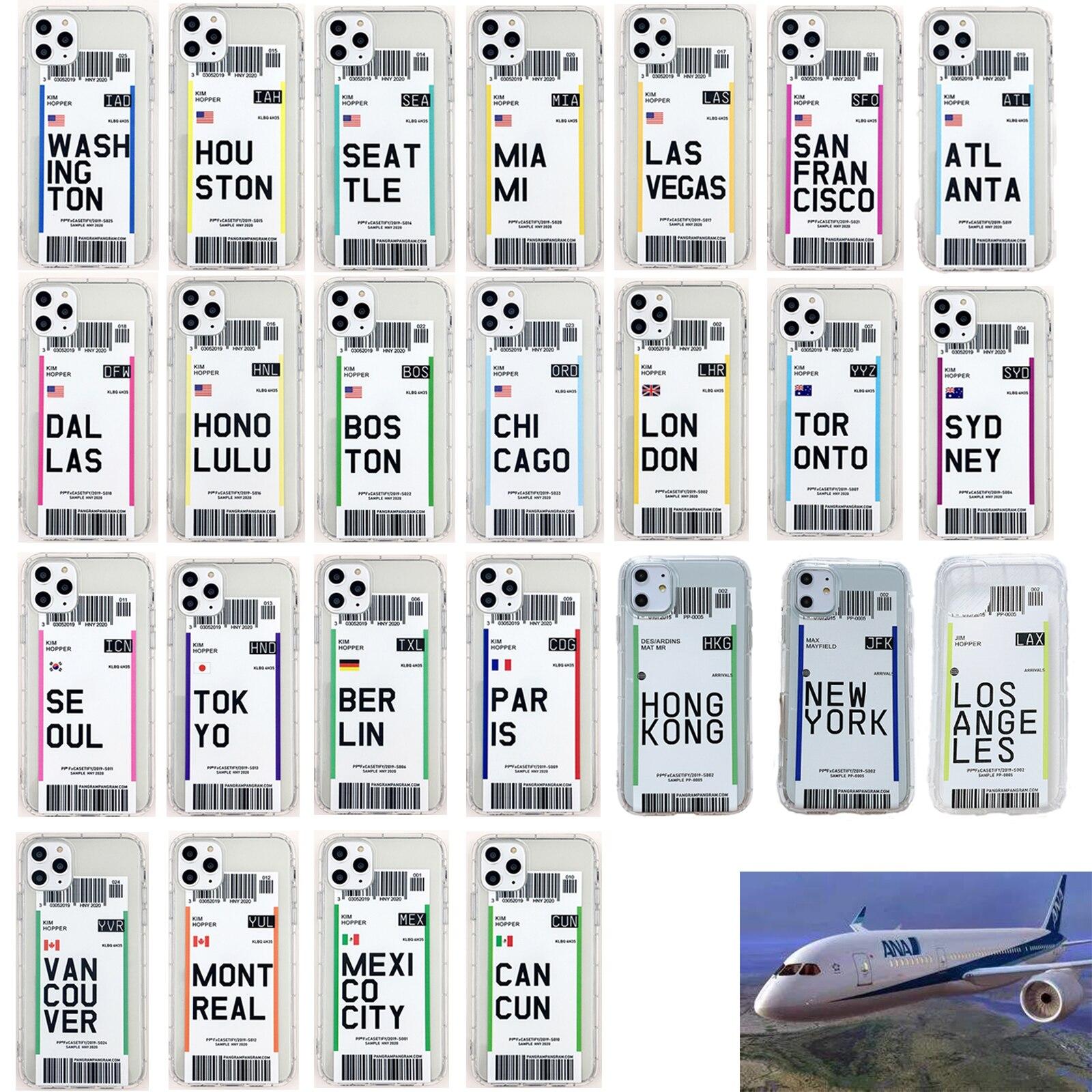 Luxe Billets D'avion coque de téléphone TPU Souple pour iPhone 11 Pro Max 7 8 Plus X XS XR XSMax 6 6s billet d'avion couverture