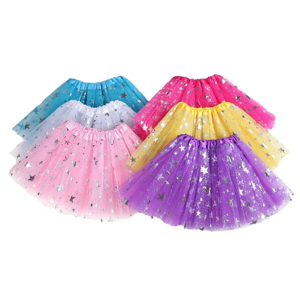 Crianças menina mini saia 30 cm bronzeadores estrelas 2-8 anos pettiskirt grande estrela de cinco pontas-saia tutu saia de malha тюль для кухни 05