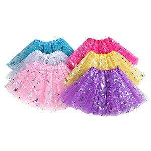 Детская мини-юбка для девушек 30 см, юбка-американка с бронзовыми звездами для детей 2-8 лет, юбка с пятиконечной звездой, юбка-пачка, сетчатая ...