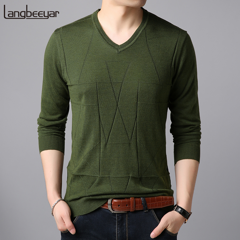 Fashion Brand Sweater For Mens Pullovers V Neck Slim Fit Jumpers Knitwear High Quality Winter Korean Style Casual Clothing Men