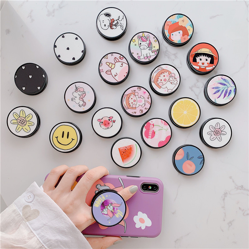 Funny Cartoon Folding Stand For Mobile Phone Holder For IPhone X 7 For Samsung For Huawei Phone Case Cute Universal Grip Holder