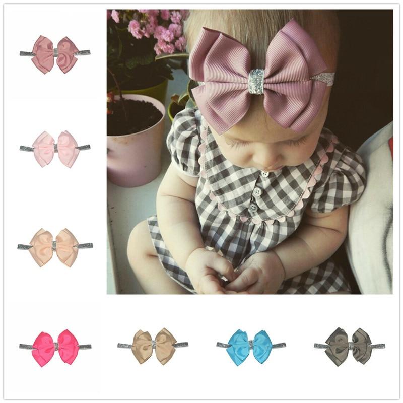 30 Color New Baby Hair Bow Flower Headband Silver Ribbon Hair Band Handmade DIY Hair Accessories For Children Newborn