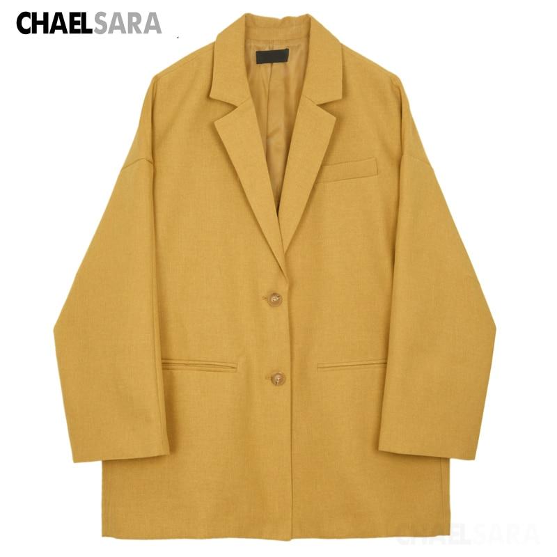 Elegant Office Lady Suit Jacket Korean Yellow Long Sleeve Single-Breasted Blazer Coat
