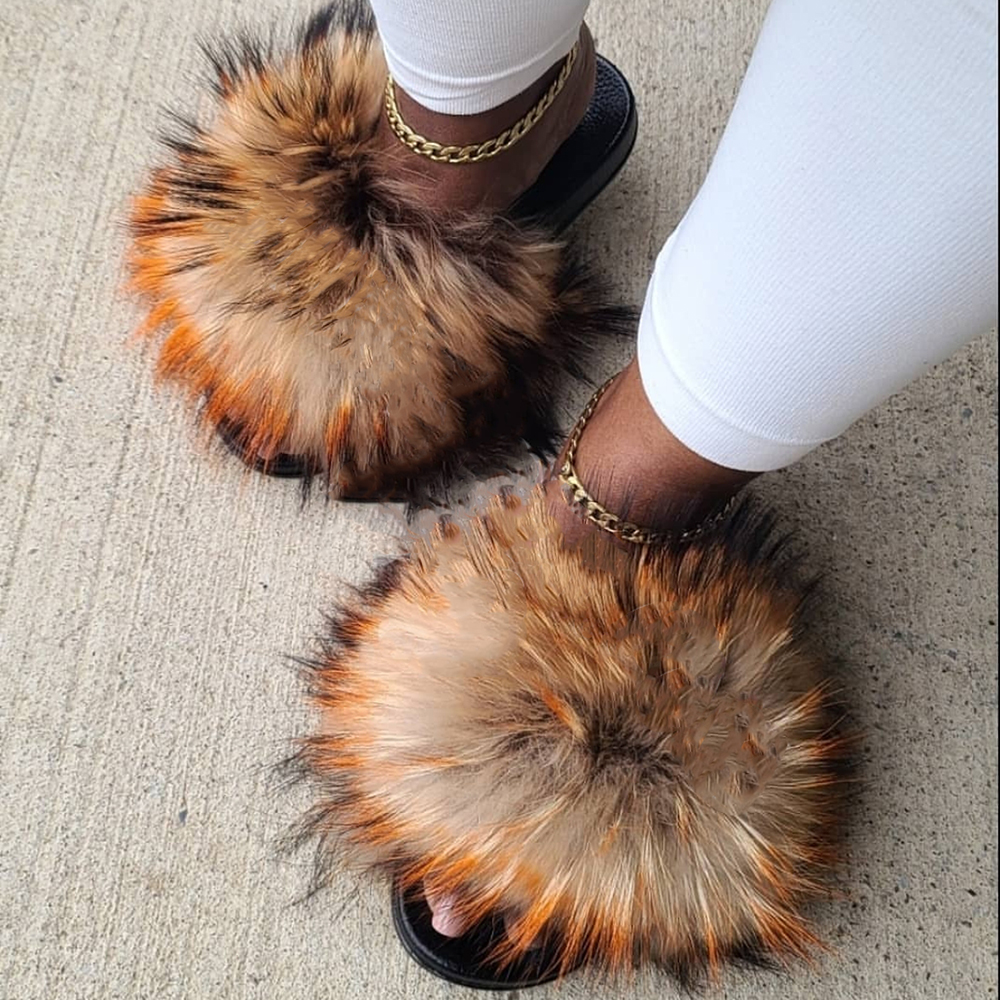 Summer Fluffy Fur Slippers Women Shoes Raccoon Fur Slides Real Fox Fur Flip Flop Flat Outdoor Slippers Casual Female Plush Shoes
