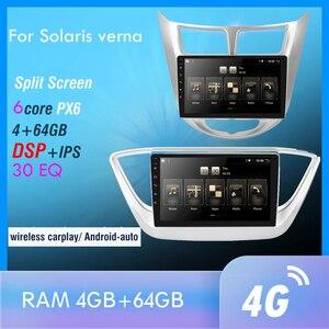 Image 1 - Android 10.0 PX6 Multimedia Car Radio For solaris verna GPS Navi Audio Video Player 4G Wifi BT HDMI RK3399 OBD DAB + SWC