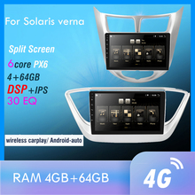 Autoradio multimediale Android 10.0 PX6 per solaris verna GPS Navi Audio Video Player 4G Wifi BT HDMI RK3399 OBD DAB SWC