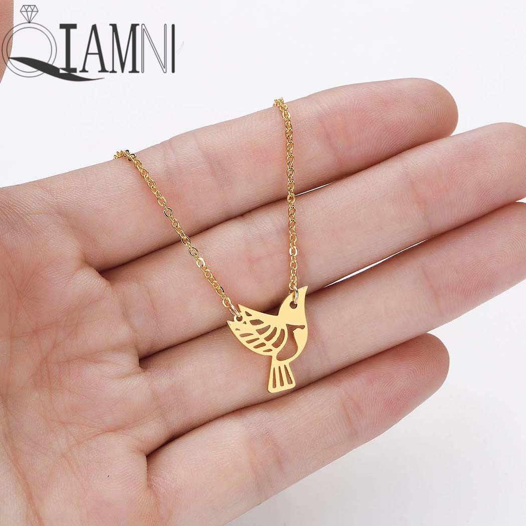 QIAMNI Dainty Origami Animal Bird Pendant Necklace Choker Collares Cute Jewelry Birthday Gift Fashion Accessories Collier Femme