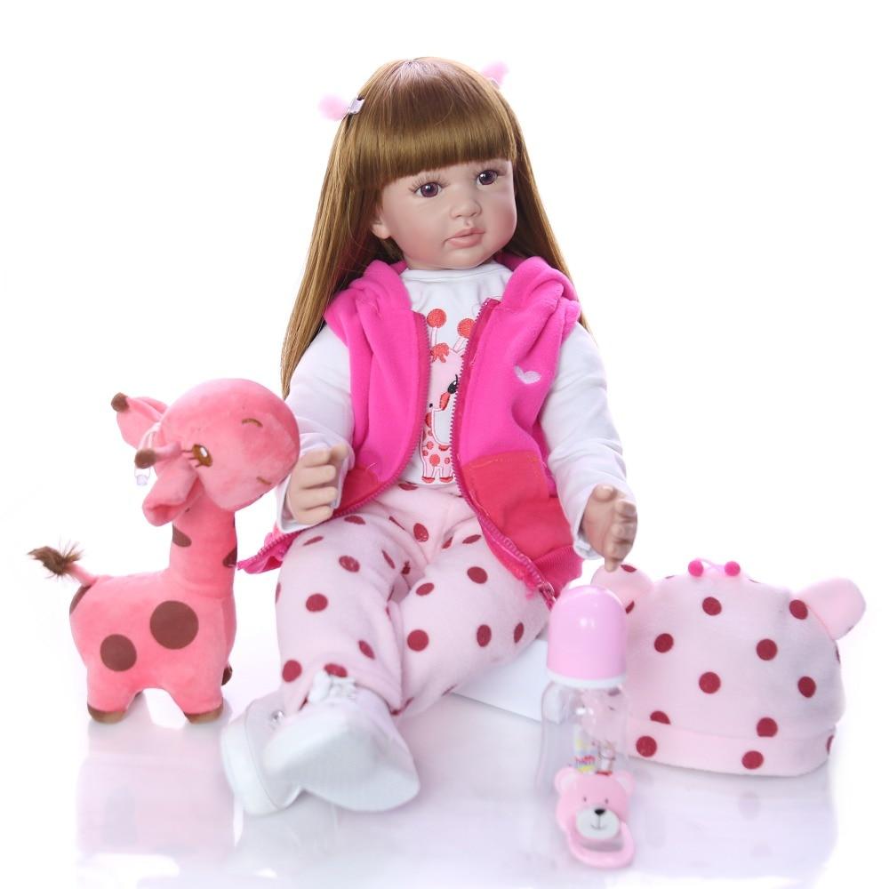 24 60cm Realistic Soft Silicone Reborn Baby Smile Girl Dolls Lifelike Newborn Doll Girl bebe Gift