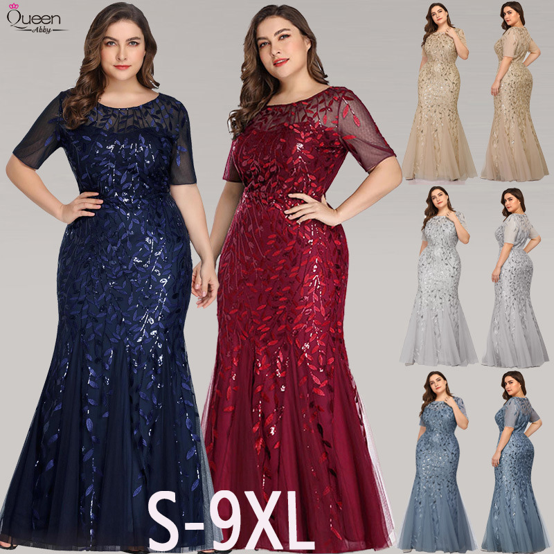 Plus Size Sequined Evening Dresses Long Queen Abby Appliques Mermaid Sexy Lace Formal Wedding Guest Gowns Party Abendkleider