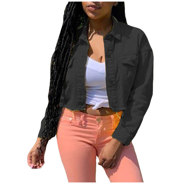 Bomber Jacket Neon Candy Solid Color Denim Coats And Jackets Women Windbreaker Long Sleeve Outerwear Leisure Streetwear
