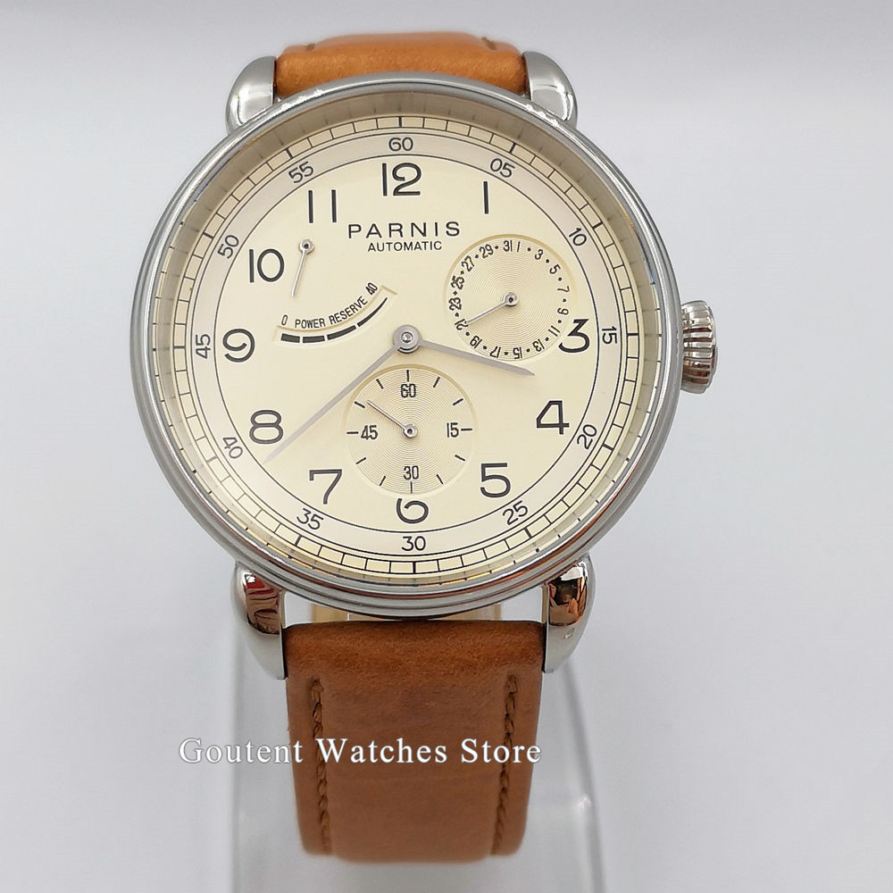 Men's Watch 42mm PARNIS Beige dial Watch Classic Power Reserve Indicator automatic male watch