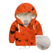 Boys Girls Winter Fleece Jackets Trench Children's Clothing Hooded Warm Outerwea